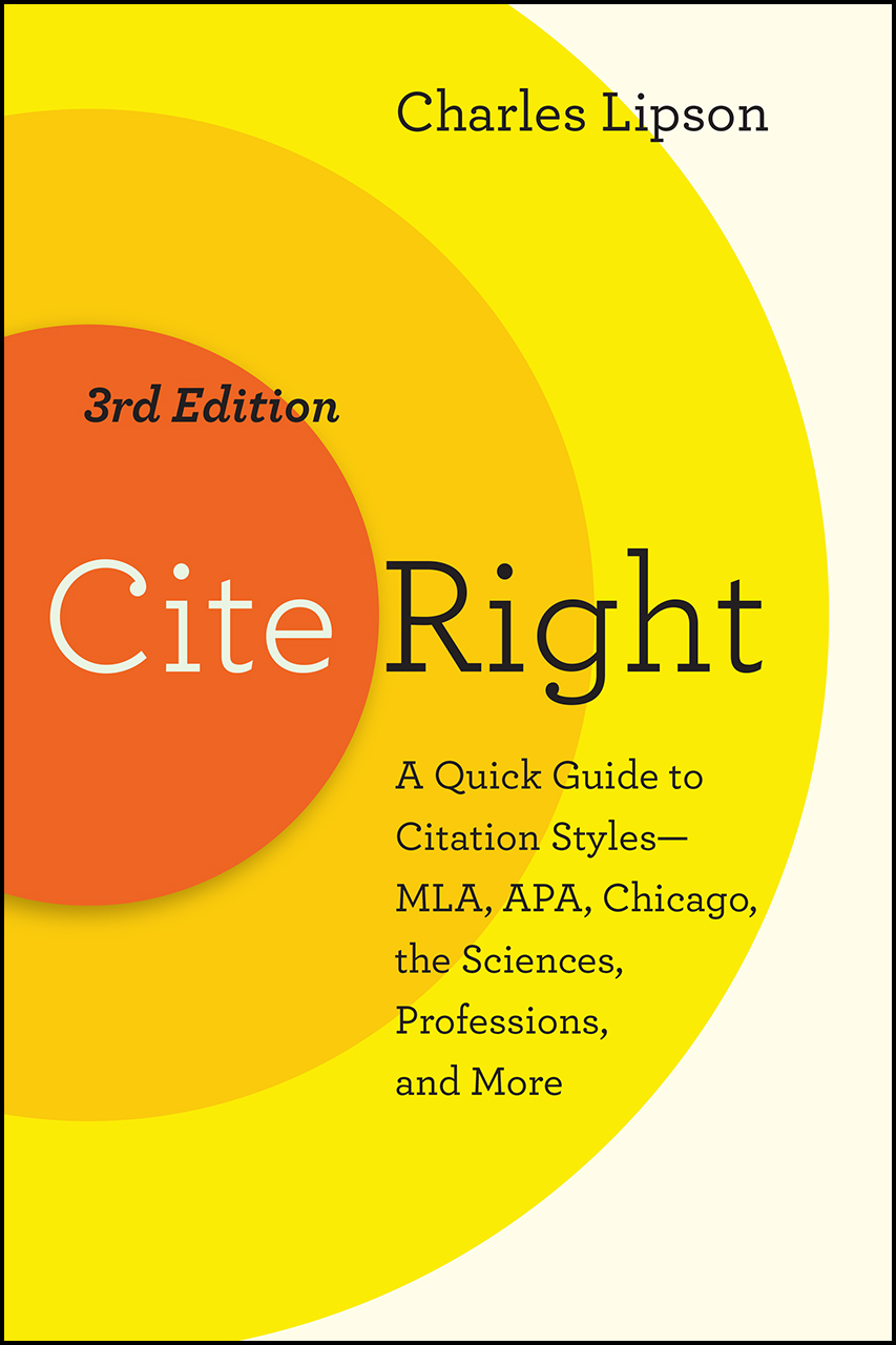 Cover image for Lipson, Cite Right, Third Edition