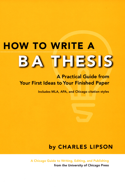 Cover image for Lipson, How to Write a BA Thesis