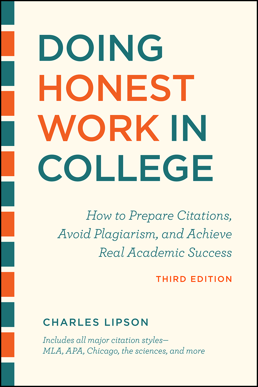 Cover image for Lipson, Doing Honest Work in College, Third Edition